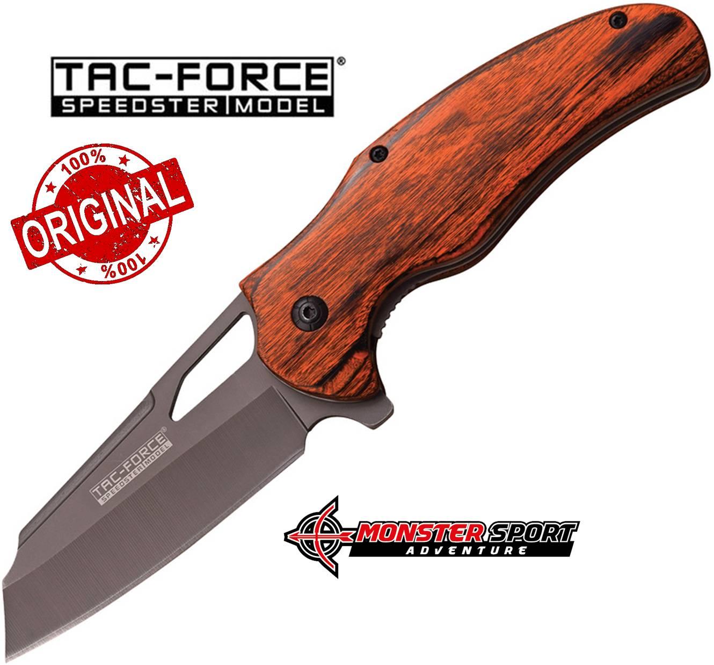 Tac-Force Linerlock Brown PakkaWood Spring Assist Knife TF935BW